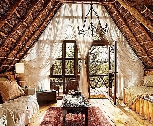 jnyferlifespace:  Love big heavy drapes.  Is that a thatched roof? *swoon*