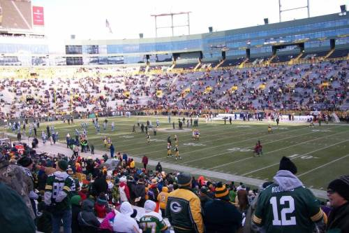 the Green Bay Packers & Tennessee Titans are warming up at Lambeau Field, in ARMY1's great photo of their view from around the 5 yd line. (via Lambeau Field section 130 row 27 seat 10 - Green Bay Packers vs Tennessee Titans shared by ARMY1)