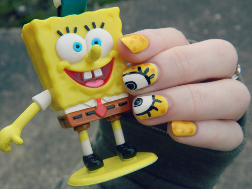 Spongebob eyes!  I did this and I'm still not sure if I like it or not. My little brother was kind enough to let me borrow his Spongebob toy whilst I took a picture but was stood waiting for me to give him it back when I went back inside. :]