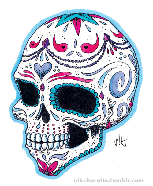 Sugar Skull tattoo idea for a good friend.