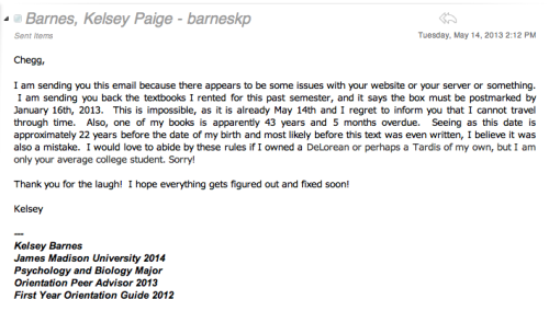 So this is what I emailed Chegg.  I think they deserved to know that THIS happened…