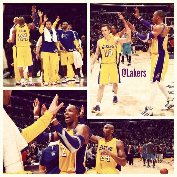 Kobe Bryant - .@SteveNash, @kobebryant & @DwightHoward walking off with their third victory in a row