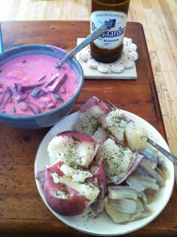 Šaltibarščiai, boiled potatoes, and herring! on Flickr.