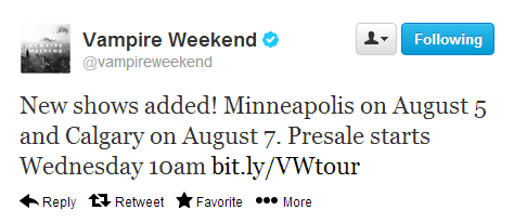 teamvampireweekend:  New dates added:  Orpheum Theatre, Minneapolis on August 5th Southern Alberta Jubilee, Calgary on August 7th Presale starts on Wednesday, 10am