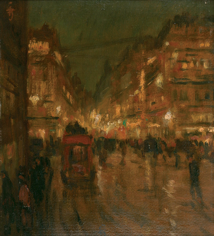 poboh:  Paris night, 1908, Tavík František Šimon. Czech (1877 - 1942)