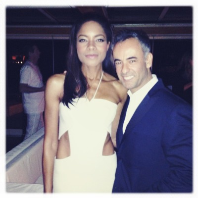 Francisco Costa and the freshest Bond Girl, Naomie Harris, at the Calvin Klein Collection party in Cannes.