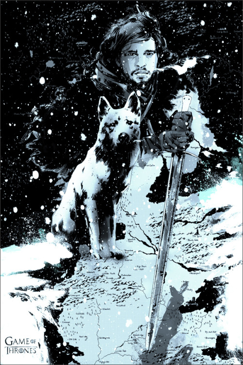 "gameofthrones:  ""Jon Snow"" by Jock released at the Game of Thrones Mondo Gallery show at SXSW"