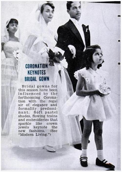 vintagebrides:  From a 1953 Jet Magazine editorial fashion spread on new bridal fashion  Just like how dresses tat looked like Kate's were popular after their wedding!