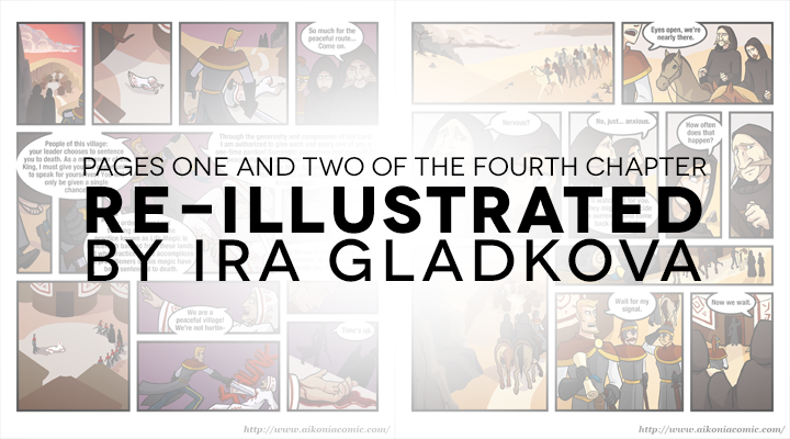 Go take a look at the first two pages of Aikonia as illustrated by Ira Gladkova, our new illustrator! The new first page. The new second page.
