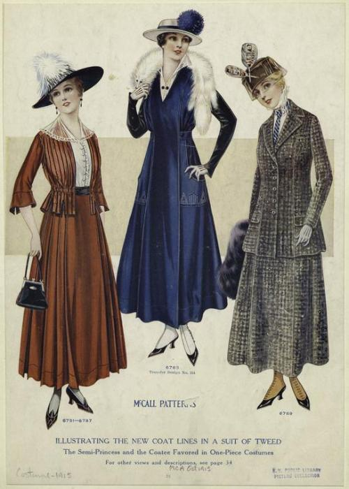 fadingfromtheday:  McCall patterns Illustrating the new coat lines in a suit of tweed 1915
