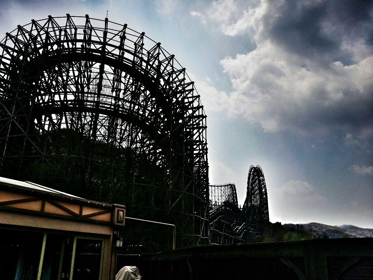 Steepest wooden roller coaster in the world. Everland, Seoul South Korea