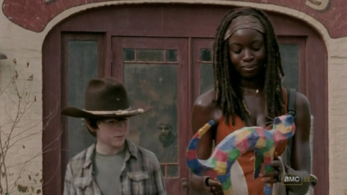 Michonne can smile