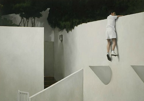Jonathan Wateridge, Boy on wall (2012)