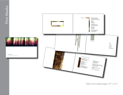 "Sample pages from poetry collection. 8.5"" x 5.5"" spiral bound 32 lb semi-gloss."
