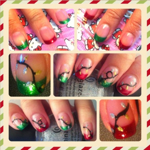jjackieelynn:  #Christmas #Nails number 2!! 🎅🎄🎁 #chinaglaze #christmasnails #red #green #christmaslights  My Christmas Nails set two! (reblogged from my personal tumblr)