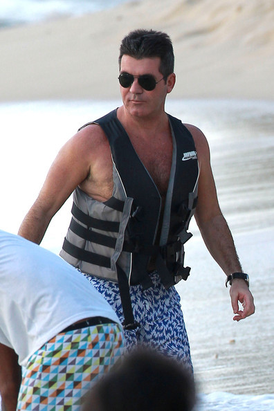 Simon Cowell jet skis in Barbados