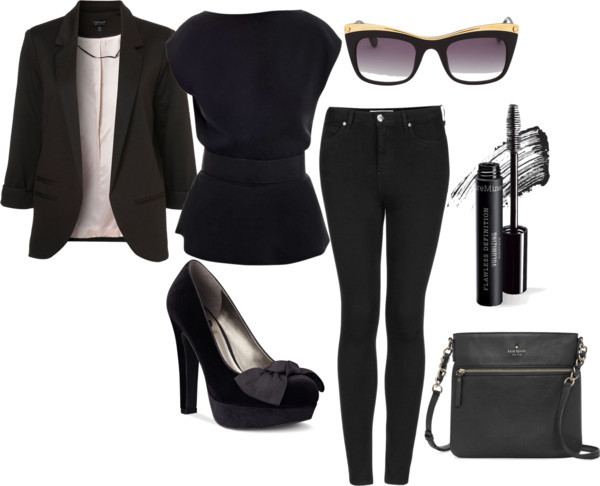 Back on Black II by meljparrish featuring peplum tops