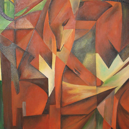 """Foxes"" - Homage to Franz Marc #1913# In China, fox animal symbolism revolved around the afterlife. Lore has it that a fox sighting was thought to be a signal from the spirits of the deceased. Fox animal symbolism takes a turn of intelligence in the Celtic realm, as the Celts believed the fox to be a guide, and was honored for its wisdom. The Celts understood the fox knows the woods intimately, and they would rely upon the fox as their guide in the spirit world. In Japan, the fox was considered one of the rain spirits, and a messenger of Inari the rice god. Here the fox also symbolizes longevity and protection from evil.In Native American lore, fox animal symbolism deals with two interpretations. One perspective (Northern tribes) observes the fox as a wise and noble messenger. The other (Plains tribes) views the fox as a trickster playing pranks, or worse – luring one to demise. Overwhelmingly, cultural consensus on fox animal symbolism deals with: cunning, strategy, quick-thinking, adaptability, cleverness and wisdom  Click the icon to see the full gift range, novelties and collectables of ""Foxes"" at ""Got The Gift?""Click the links to see all of my Redbubble Animal Paintings,Animal Photography, Animal Greeting Cards, Animal Stickers, Animal Tees, and ArttowearMy artwork, photography and design can be found in my Zazzle Galleries. Check out customizable gifts and collectables at Female Contemporary Art, Arttowear and Rottweiler Gifts Follow links to 3DRose for customizable Photography and Acrylic Art"