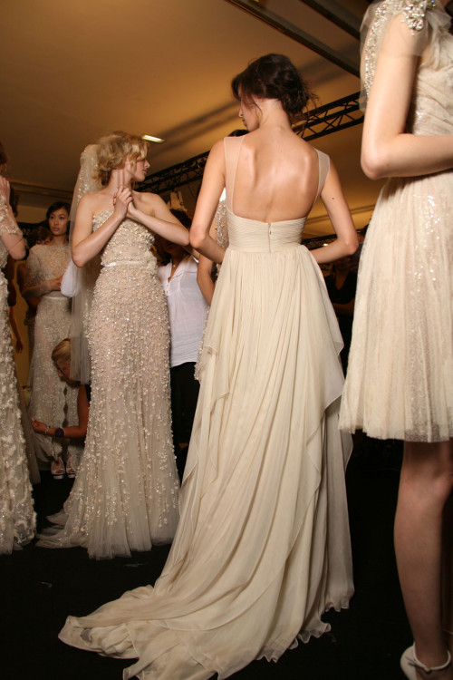 sweetinnocentlies:  Elie Saab fall 2011 couture backstage