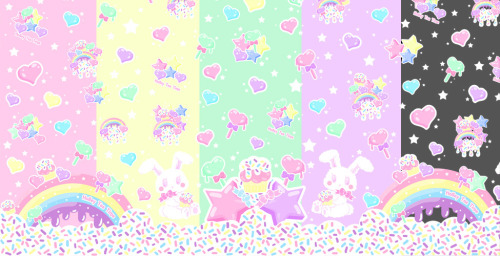 holleyteatime:  ☆ Rainbow Sweets series ☆ The final decided colorways. We have already (yellow, mint and grey) for examples to show. We just finished the mint salopette yesterday and are excited to show you all.Part of this series will be available at Sakura-Con