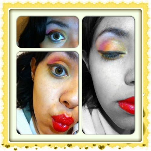 #instacollage #makeup #eyeshadow #rainbow #yellow #orange #pink #lightgreen #blue #golden #sparkles #lips #red #funny #beauty #smize