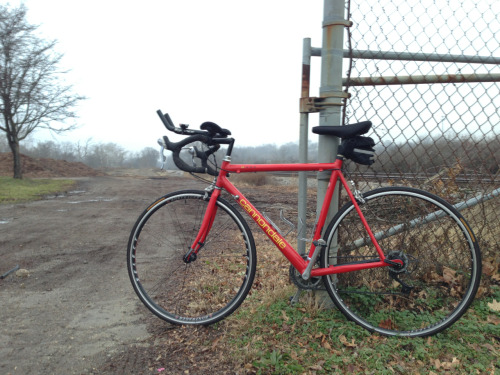 Foggy Christmas Eve ride on the dad's Cannondale