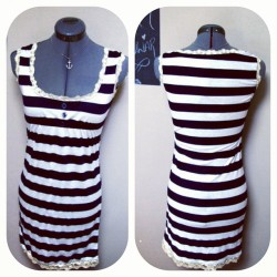 sailorette in stripes dress ⛵ (for sale, I ship worldwide!!)  www.etsy.com/shop/RatherxPeculiar #ratherxpeculiar #nautical #navy #anchor #diy #handmade #etsy #stripes #summer #sealife #ooak