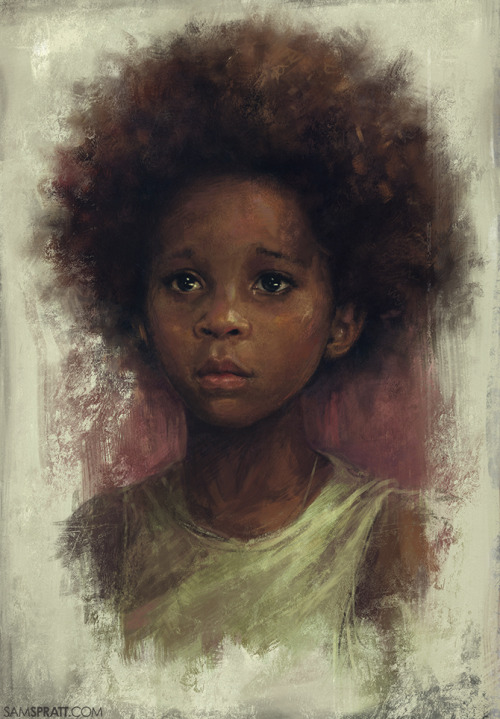 """Quvenzhané Wallis Study"" - by Sam Spratt AKA the 9 year-old best actress Oscar Nominee. My accomplishments at Age 9: I had a Teenage Mutant Ninja Turtles lunchbox? End of list."