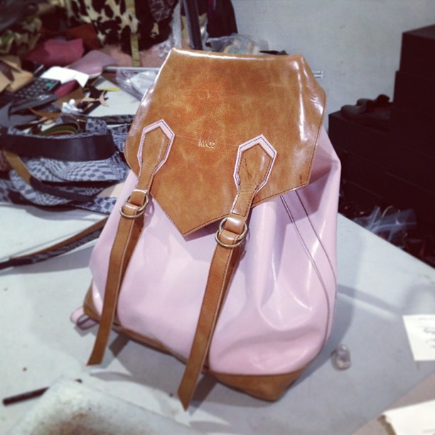 Finished! Tan calfskin + Blush kidskin #leatherbackpack #macoleatherconcepts #buyme!