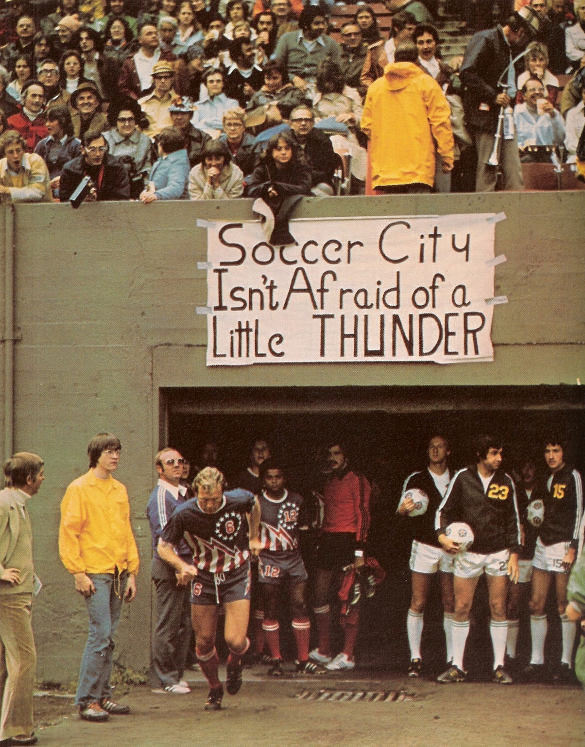 "xiquarterly:  ""Soccer City isn't afraid of a little thunder."" The Portland Timbers welcome Bobby Moore and the San Antonio Thunder in 1976. (Source: http://naslmemories.blogspot.com)"