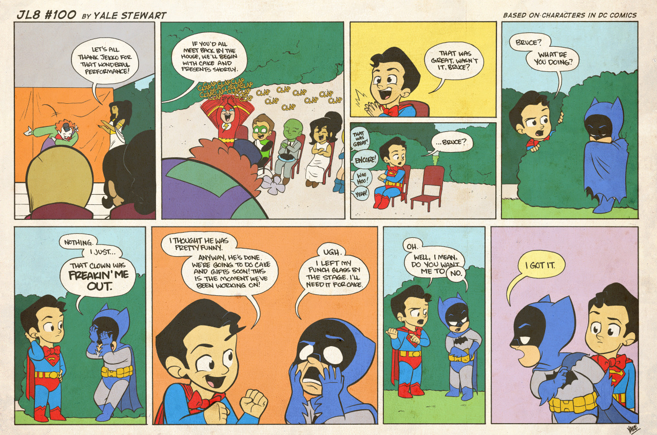 dcu:  jl8comic:  JL8 #100 by Yale Stewart Based on characters in DC Comics. Creative content © Yale Stewart. Like the Facebook page here! Archive 2013 Con Schedule  Congrats on 100 episodes JL8!