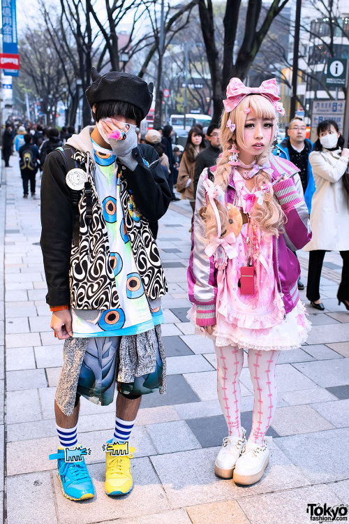 tokyo-fashion:  SP w/ KTZ horn beret & Keith Haring sneakers vs. his friend w/ Nile Perch & Barbie - on the street in Harajuku.