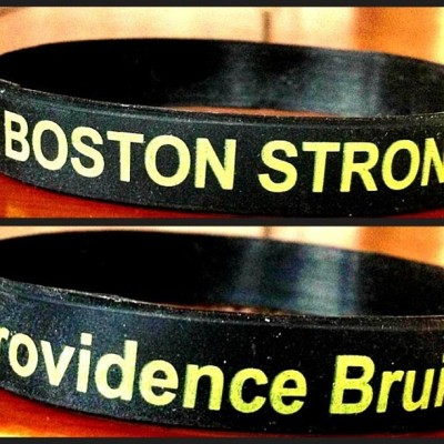 The #BostonStrong bracelets are in! Stop by the wives/gfs table this weekend to make a donation to #OneFundBoston and get yours!