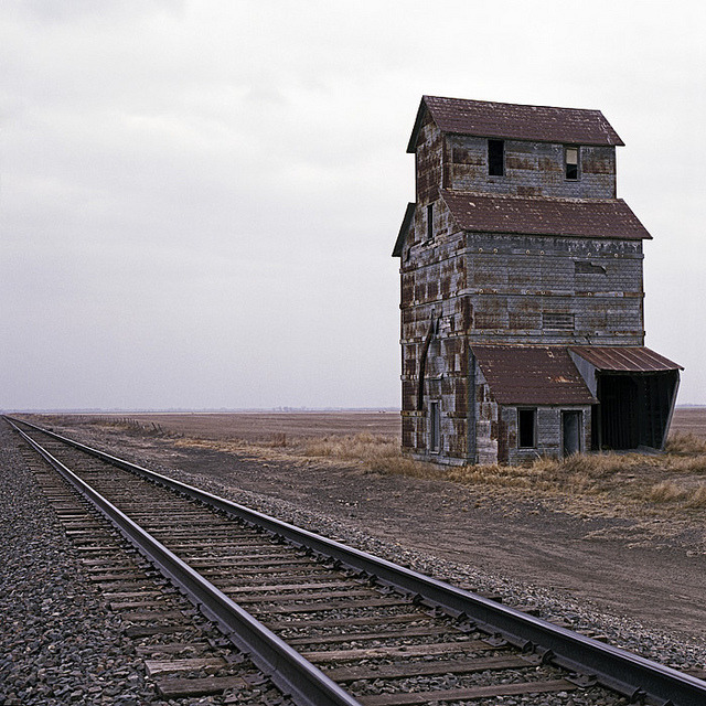 Grain And Railroad. U.S. 56, Kinsley, KS 67547 by Terrorkitten on Flickr.