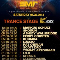 Here are some of the set times so you don't miss your favorite DJs at SMF! Trance stage