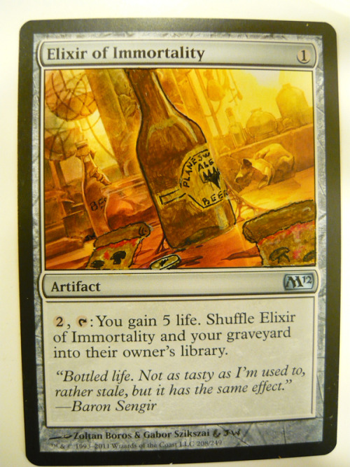 Happy New Year's! Here's an alter for you guys! It's a pretty simple Elixir of Immortality that was a Christmas gift for my manager. It was a riot to do, I love this sort of work. He said he loved it and had to find a space in an EDH deck for it! I'm so glad he liked it. :DHope you guys like it too!