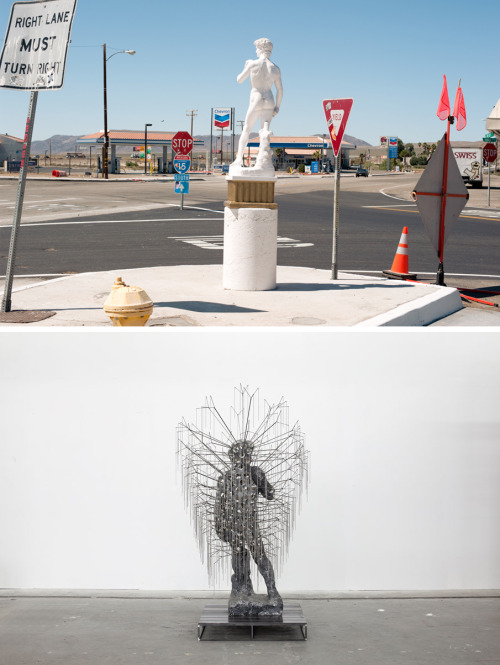 fette:  Top, photograph by Graham Hamby, Untitled, 2011. Via. Bottom, Nick van Woert, Untitled, 2011, Fiberglass statue, resin, concrete pigment, steel, stainless steel, 42 x 42 x 80 inches. Affirmative, Dave. I read you. And so excited that Nick will have a show at OHWOW gallery here in Los Angeles, opening February 22, 2013.