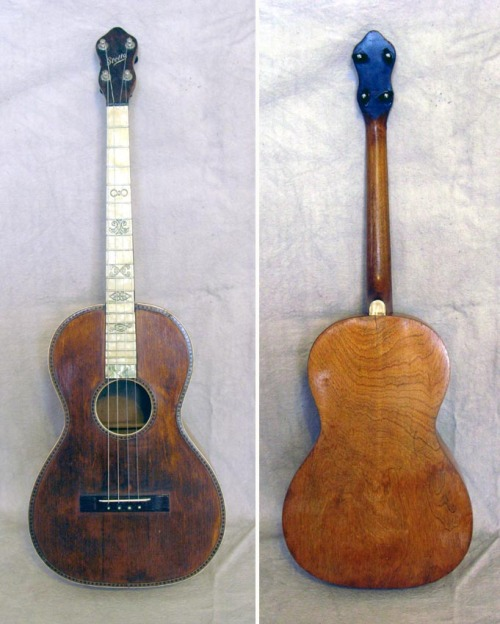 Stella Baritone Ukulele, 1920sThis is the first baritone ukulele that Stella Guitars & Other Oscar Schmidt Instruments has come across and it's fairly rare! It has spruce top with fancy wood purfling and rosette. Top is crack-free, back has one very small hairline crack. Pearloid fretboard with fancy stamped position designs.  Original finish has no touch-ups or over-spray. Original tuners work great! No case.