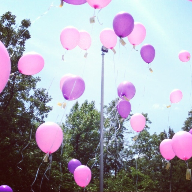 "Balloons were released today for Gabbi's 3rd birthday! (from the Kid President Pep Talk video) Beating cancer like a boss. Each has a tag ""If you find this balloon pray for Gabbi""."