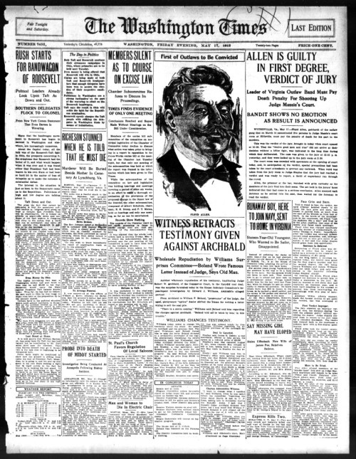 "May 17th, 1912: Two Cranks Call to See President TaftHere's the Thursday edition of ""In the Paper"" for May 17th, 1912. front page of the Washington…View Post"