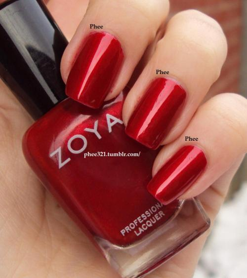 phee321:  Zoya Elisa, 2 coats, no top coat Applied like a dream, this is a perfect red in my eyes :)  xo Phee