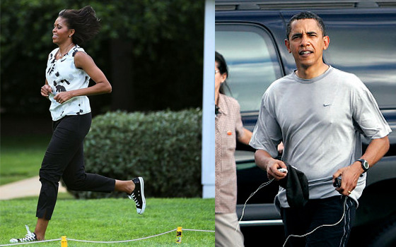 "thehealthylifechange:  naturallyhealthy:  ""Barack and I work out every day,"" she [said]. ""I usually get to the gym before he does. But he is usually there either in the middle of my workout or right at the end. And we're watching `SportsCenter' and we're catching up. That's why I know so much about sports … and you start having an opinion about (New York Jets quarterbacks Tim) Tebow and Mark Sanchez."" If she's travelling  Mobama jumps rope or does calisthenics. ""If I don't have a rope or space, I might do a 30-minute routine that includes a minute of jumping jacks alternating with a minute of push-ups, then some sit-ups. You take a 30-second break and do it again."" (So if the POTUS and the FLOTUS can find time to work out then so can you!)  I have the Obamas exercising on my blog. Omg"