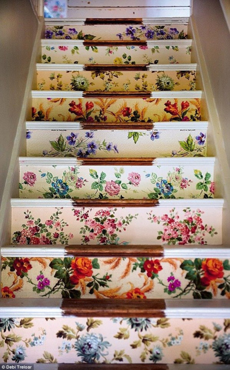 (via Poppytalk: Weekend Project | Wallpapered Stairs)