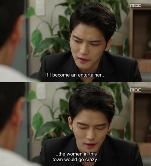 "ilovekimjaejoong:  ""If I become an entertainer, the women in this town would go crazy.""- Heo Youngdal, Triangle ep7"