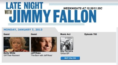 Sky Ferreira will be on the Late Night Show with Jimmy Fallon on January 7th. Be sure to check it out!