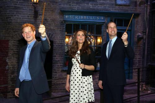 youknowyourebritishwhen:   Harry, Kate and Wills visiting the Harry Potter Studio, what could be more British?