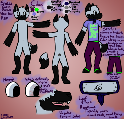 A long overdue reference sheet for wolf me.