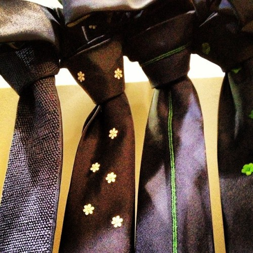 officialstyledotcom:  The most beautiful hand-embroidered ties by Jupe by Jackie, at #Pitti.