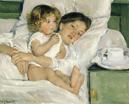 huntingtonlibrary:  Happy birthday, Mary Cassatt!! caption: Mary Cassatt (1844-1926), Breakfast in Bed, 1897. Oil on canvas, 25 5/8 x 29 in. Huntington Library, Art Collections, and Botanical Gardens.
