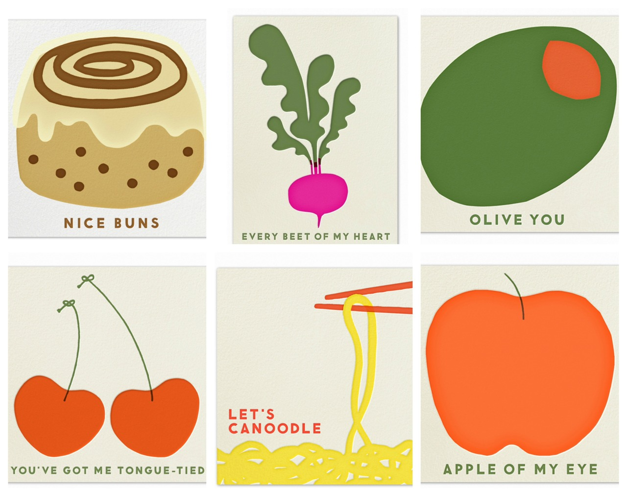 Clever food themed valentines by Indigo Bunting that you can send via Paperless post.